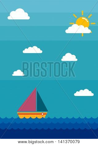 Vector stock of a sail boat sailing in the ocean with clouds and bright sky