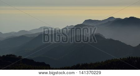 Silhouettes of mountains at sunset, summit of Gran canaria, Canary islands
