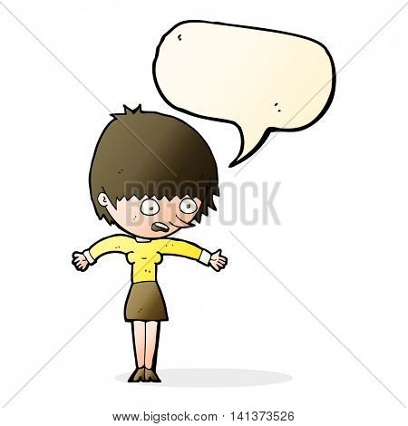 cartoon woman panicking with speech bubble