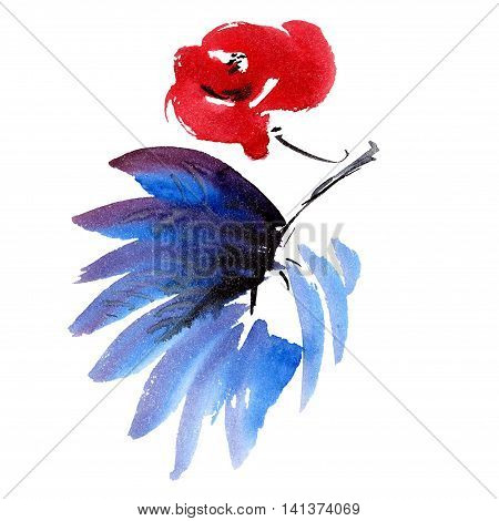 Red flower and dark blue leaf. Watercolor and ink painting in style gohua sumi-e u-sin. Oriental traditional painting.