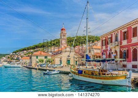 Pucisca is small town on Island of Brac, popular touristic destination on Adriatic sea, Croatia.