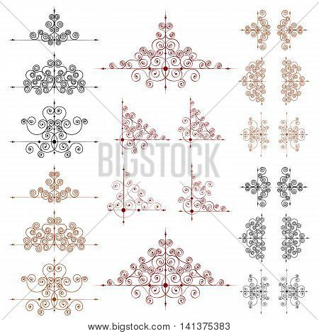 Set of vector page decoration elements or monograms for design. Editable and can be modified