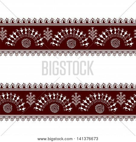 Warli painting seamless pattern - hand drawn traditional the ancient tribal art India. Pictorial language is matched by a rudimentary technique depicting rural life of the inhabitants of India