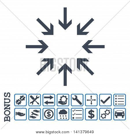 Pressure Arrows icon with bonus pictograms. Glyph style is flat iconic symbol, smooth blue colors, white background. Bonus style is bicolor square rounded frames with symbols inside.