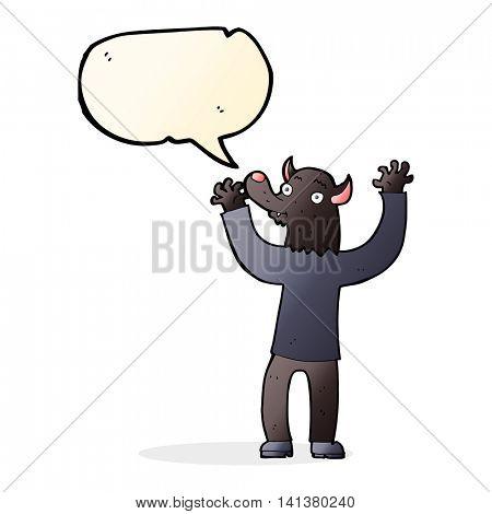 cartoon happy werewolf man with speech bubble