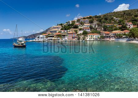 Blue waters in Assos village and beautiful sea bay, Kefalonia, Ionian islands, Greece