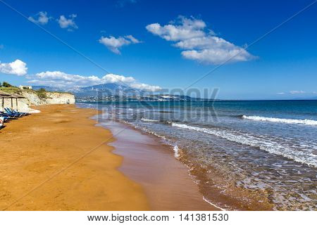 amazing view of Xi Beach,beach with red sand in Kefalonia, Ionian islands, Greece