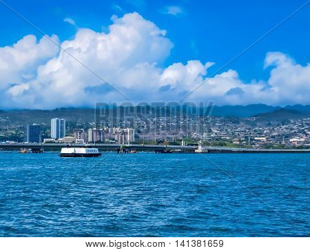 Pearl Harbour sea view with hills and boats
