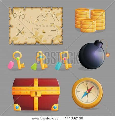 Collection of items for treasure hunting journey and navigation. Accessories for treasure hunting journey, treasure chest, compass, bomb, ancient map, a collection of keys. Game and app ui icons.