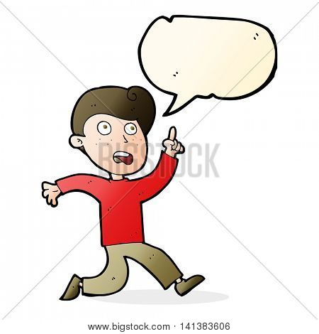 cartoon boy panicking with speech bubble