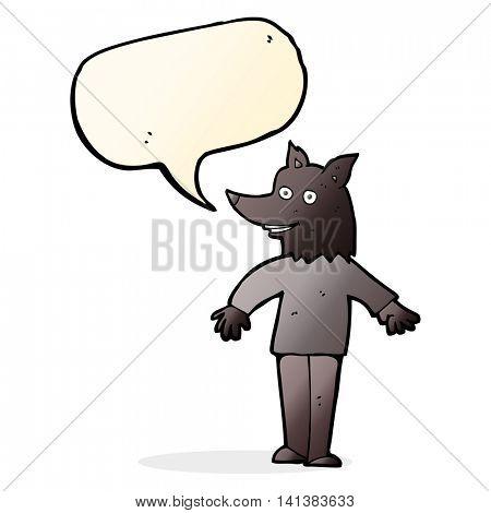 cartoon happy werewolf with speech bubble