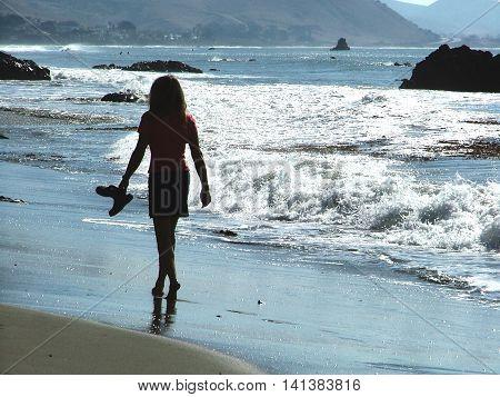 Young women walking the beach in Big Sur California