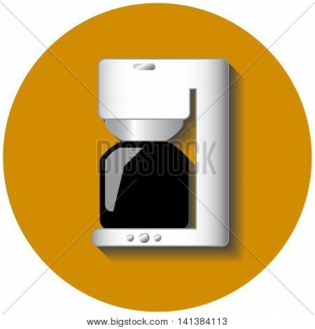Coffee machine vector illustration on yellow circle background. Modern kitchen device. Small home appliance. Round image for morning breakfast. Table technics. Hot drink cooking. Flat style drawing