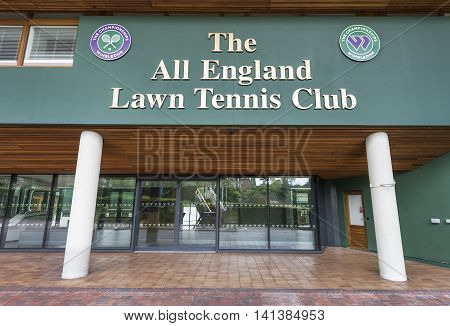 LONDON,THE UK-MAY 2016: at the entrance to Wimbledon courts offices