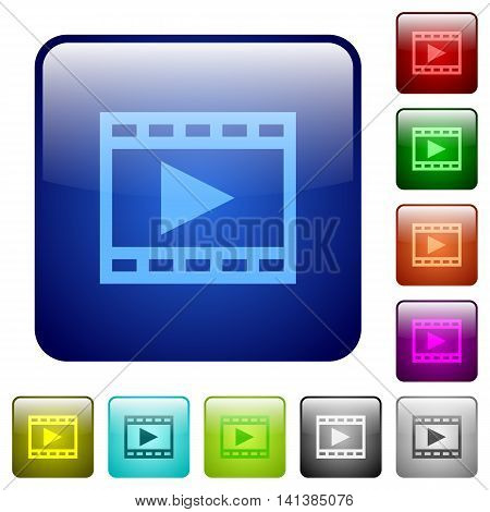 Set of play movie color glass rounded square buttons
