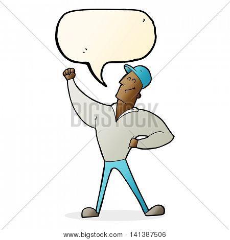 cartoon man striking heroic pose with speech bubble