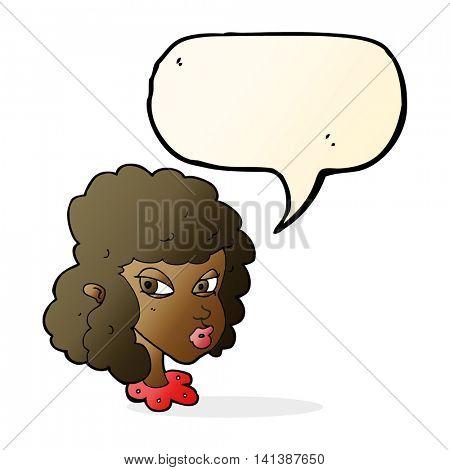 cartoon suspicious woman with speech bubble