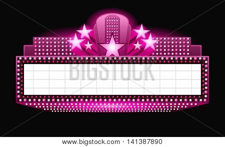 Brightly theater glowing pink retro cinema neon sign