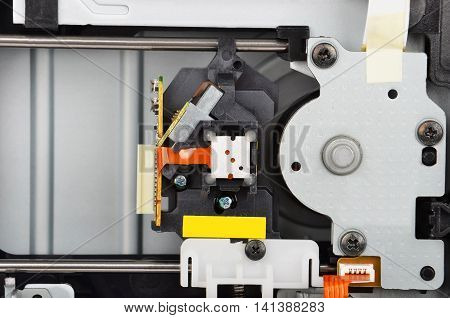 Detailed view of the inside of DVD disk drive (cd-rom)