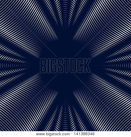 Black and white moire lines striped psychedelic vector background.