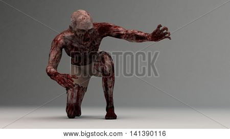 3d illustration of a zombie male