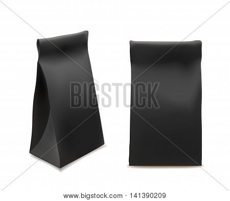 Black Paper Food Bag Package For Coffee Tea Snacks Chips Breakfast Meal. Isolated Mock Up Template Ready For Your Design. Product Packing Vector. Food to Go