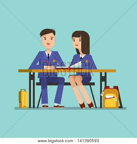 Couple of teenagers young students in school uniform at the desk. Couple of schoolboy and schoolgirl sitting at the table in the classroom.Vector illustration of education concept