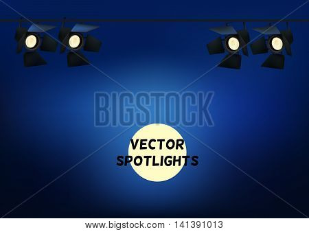 Realistic Spotlights. Light Effect. Scene Studio Show. Isolated Vector Illustration.