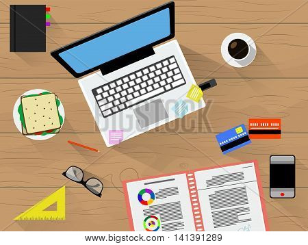 Working place with notebook with different tools. Vector illustration