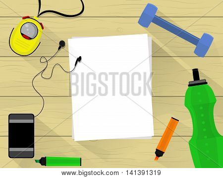Wooden table with fitness facilities list of paper mobile phone felt pen and bottle of water. Flat design