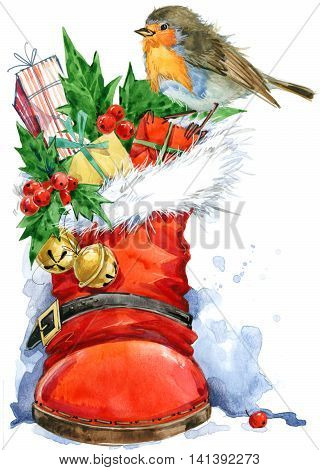 Christmas card. Christmas bird watercolor with boot and gifts. New Year watercolor background.