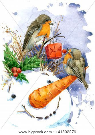Christmas card. Christmas bird watercolor with snowman. New Year watercolor background.