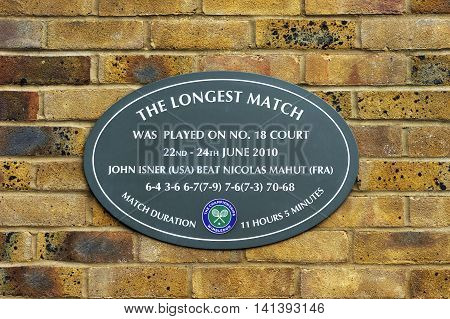 LONDON,THE UK-MAY 2016: The memory desk for the longest ever played match at  Wimbledon courts