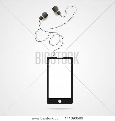 black realistic vector smartphone and headphones illustration