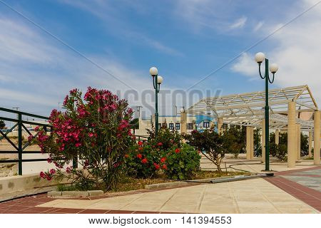 The main square of Kefalos village, Kos island, Dodecanese, Greece.