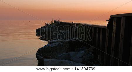 Peaceful calming photo of a Lake Michigan breakwater.