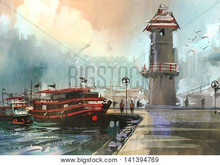 fishing boat in harbor, digital painting, illustration
