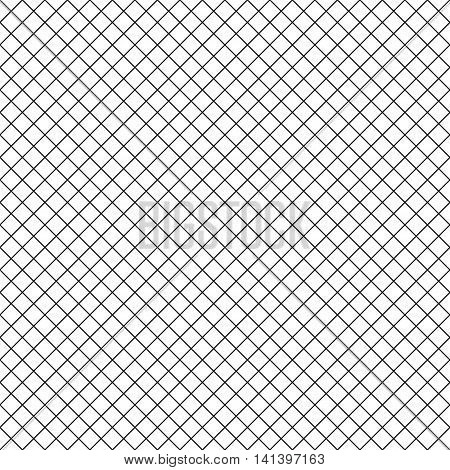 Intersecting perpendicular lined seamless pattern. Repeating mesh texture with black perpendicular crossing lines on white background. Grid checkered vector illustration.