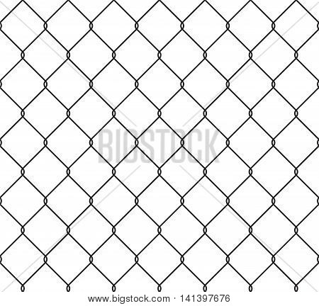Metallic wired fence seamless pattern. Steel wire mesh isolated on white background. Vector illustration in EPS8 format. Pattern swatch included.