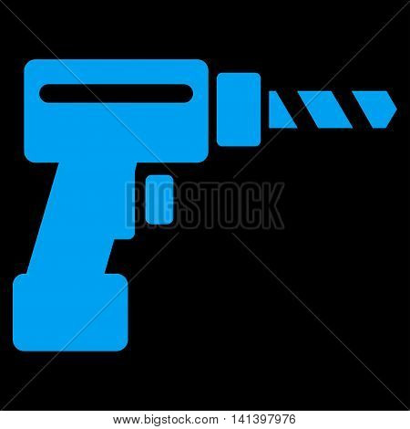 Drill vector icon. Style is flat symbol, blue color, rounded angles, black background.