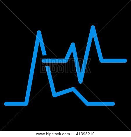 Ecg vector icon. Style is flat symbol, blue color, rounded angles, black background.