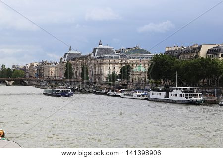 PARIS, FRANCE - MAY 14, 2015: This is Orsay Museum which is located in a former railway station on the left bank of the Seine.
