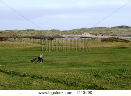 Walking On A Links Golf Course