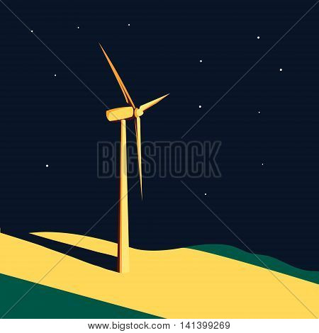 Wind generator turbine in the light spot at night. Wind farm. Ecology environmental background. Clean sustainable energy concept. Vector illustration.