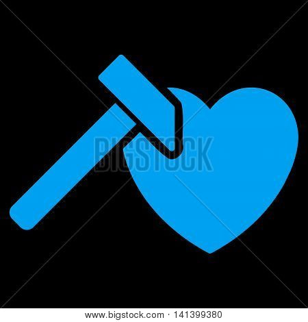 Heart Hummer vector icon. Style is flat symbol, blue color, rounded angles, black background.