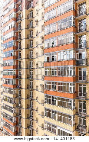 New modern multistorey apartment building in Russia