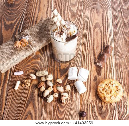 Coffee With Marshmallows On The Boards.