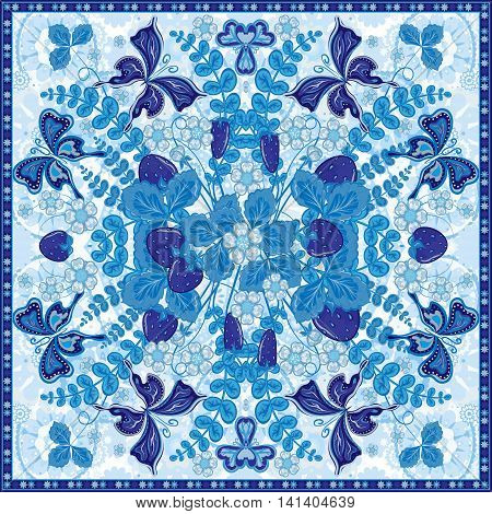 Decorative color floral background, strawberry pattern and ornate lace frame. Bandanna shawl fabric print, silk neck scarf, kerchief design, vector illustration. Fruit square decoration. Blue