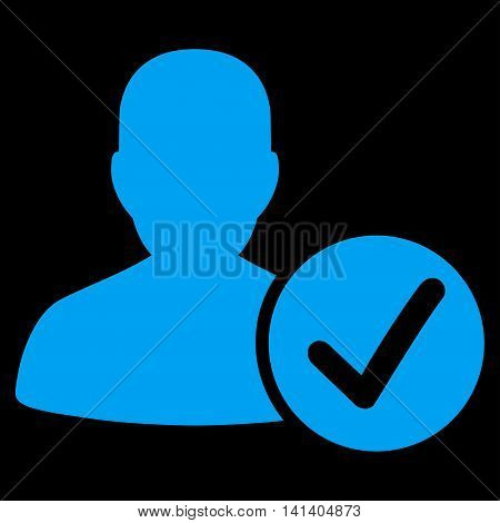 Valid Patient vector icon. Style is flat symbol, blue color, rounded angles, black background.
