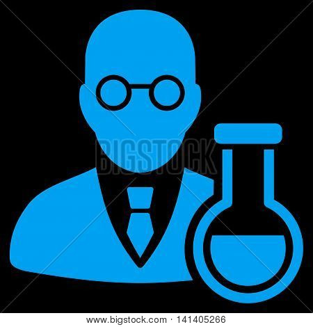 Chemist vector icon. Style is flat symbol, blue color, rounded angles, black background.
